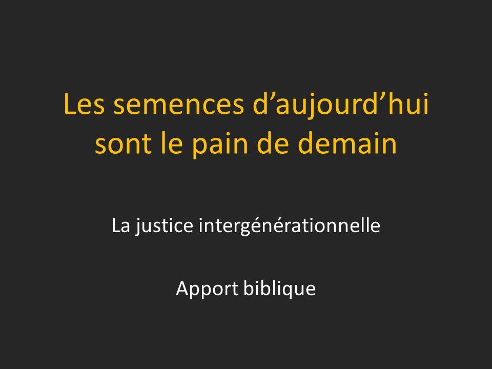 Les semences daujourdhui sont le pain de demain La justice intergénérationnelle Apport biblique