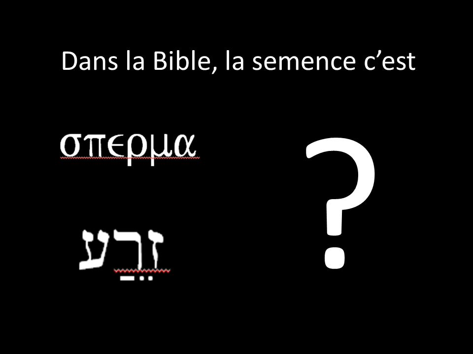 Dans la Bible, la semence cest ?