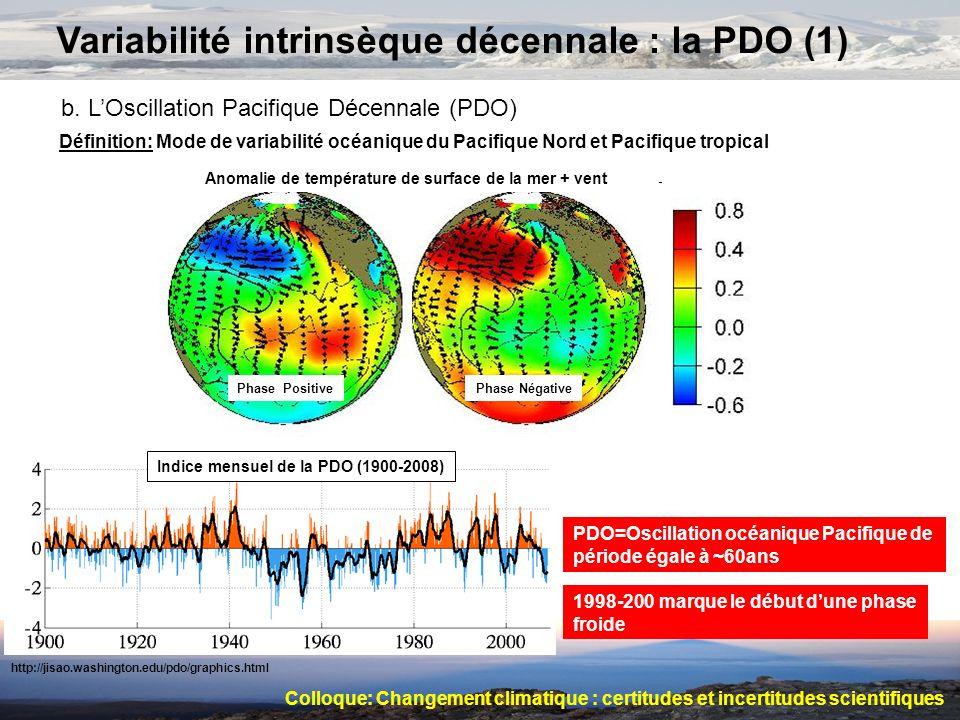 Variabilité intrinsèque décennale : la PDO (1) b. LOscillation Pacifique Décennale (PDO) Définition: Mode de variabilité océanique du Pacifique Nord e