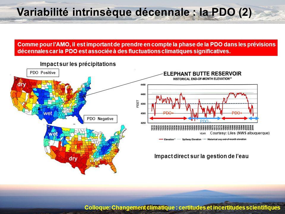 Variabilité intrinsèque décennale : la PDO (2) PDO Positive PDO Negative Comme pour lAMO, il est important de prendre en compte la phase de la PDO dan