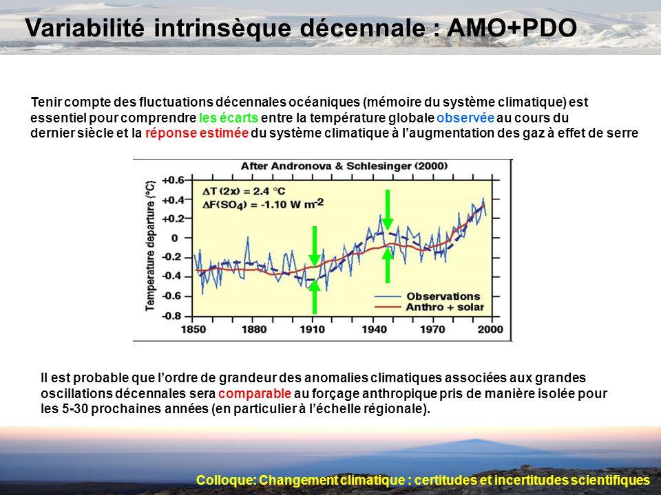 Variabilité intrinsèque décennale : AMO+PDO Tenir compte des fluctuations décennales océaniques (mémoire du système climatique) est essentiel pour com