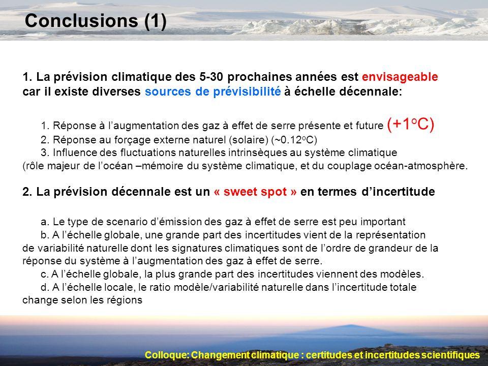 Conclusions (1) 1. La prévision climatique des 5-30 prochaines années est envisageable car il existe diverses sources de prévisibilité à échelle décen
