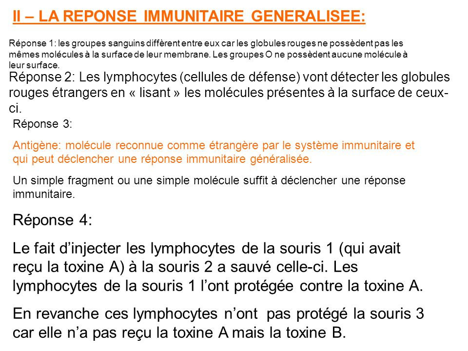 II – LA REPONSE IMMUNITAIRE GENERALISEE: Réponse 1: les groupes sanguins diffèrent entre eux car les globules rouges ne possèdent pas les mêmes molécules à la surface de leur membrane.