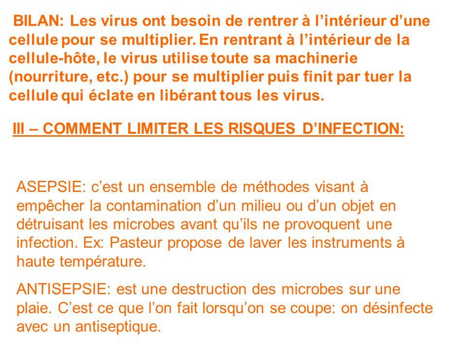 BILAN: Les virus ont besoin de rentrer à lintérieur dune cellule pour se multiplier.