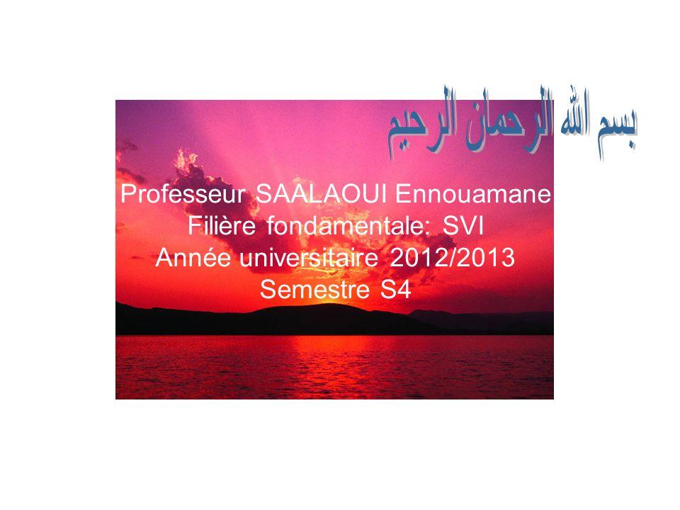 Professeur SAALAOUI Ennouamane Filière fondamentale: SVI Année universitaire 2012/2013 Semestre S4