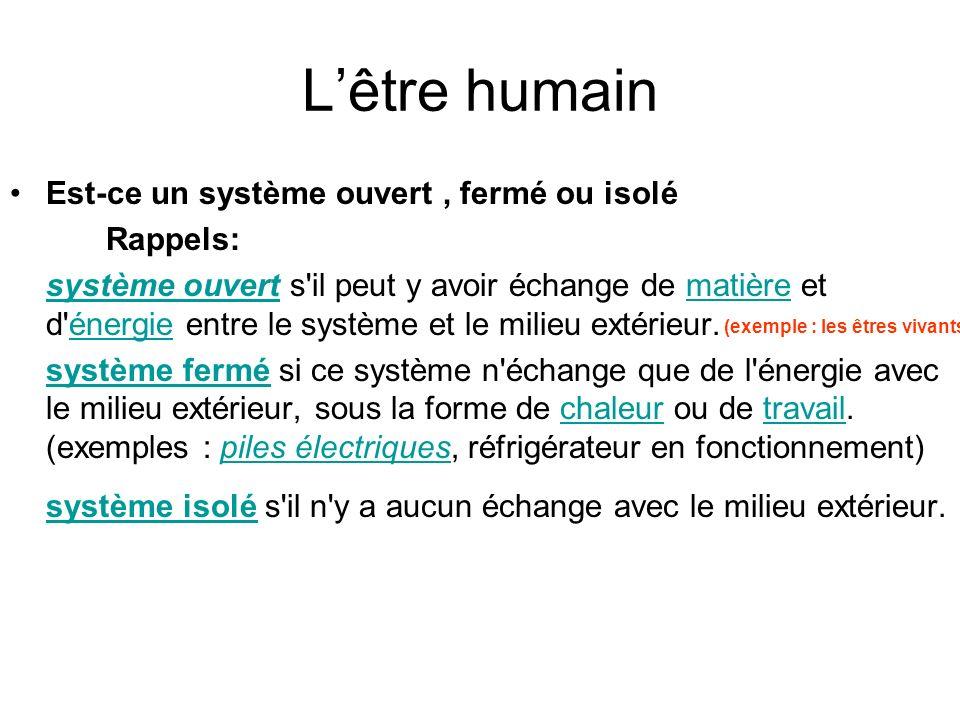Lêtre humain Est-ce un système ouvert, fermé ou isolé Rappels: système ouvertsystème ouvert s'il peut y avoir échange de matière et d'énergie entre le
