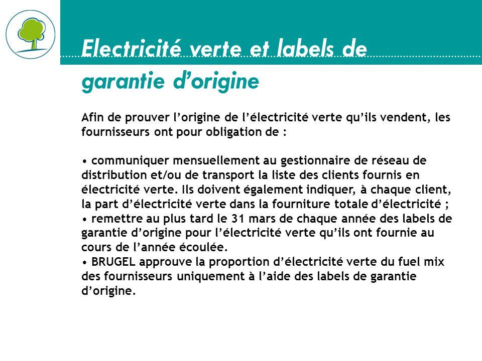 Electricité verte et labels de garantie dorigine Afin de prouver lorigine de lélectricité verte quils vendent, les fournisseurs ont pour obligation de
