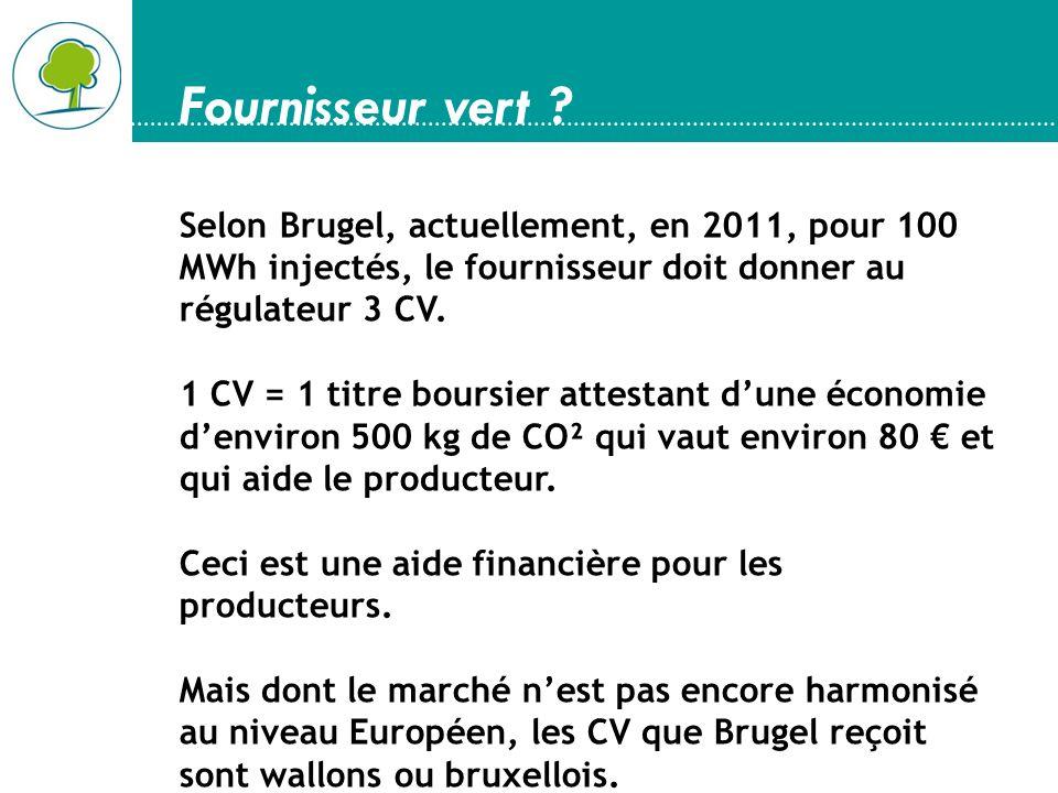 Fournisseur vert ? Selon Brugel, actuellement, en 2011, pour 100 MWh injectés, le fournisseur doit donner au régulateur 3 CV. 1 CV = 1 titre boursier