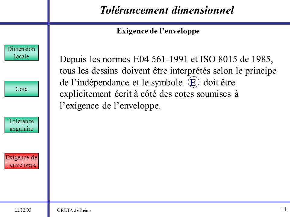 Tolérancement dimensionnel Dimension locale Cote Tolérance angulaire Exigence de lenveloppe Depuis les normes E04 561-1991 et ISO 8015 de 1985, tous l