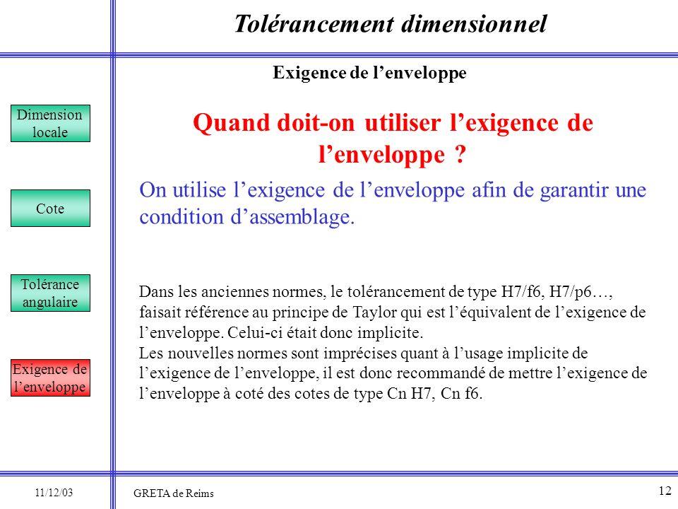Tolérancement dimensionnel Dimension locale Cote Tolérance angulaire Exigence de lenveloppe Quand doit-on utiliser lexigence de lenveloppe ? On utilis