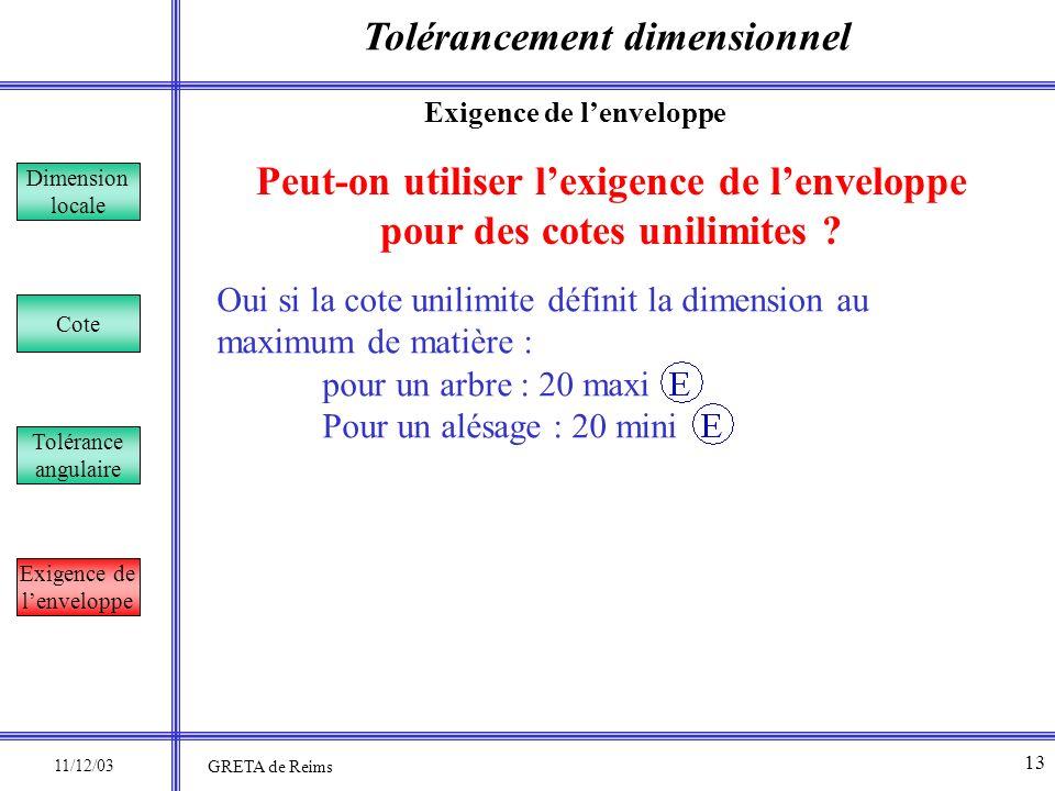 Tolérancement dimensionnel Dimension locale Cote Tolérance angulaire Exigence de lenveloppe Peut-on utiliser lexigence de lenveloppe pour des cotes un