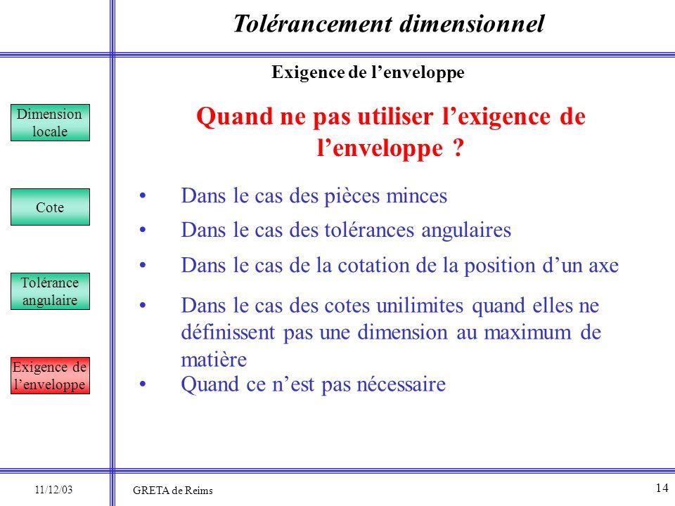 Tolérancement dimensionnel Dimension locale Cote Tolérance angulaire Exigence de lenveloppe 11/12/03 Quand ne pas utiliser lexigence de lenveloppe ? D