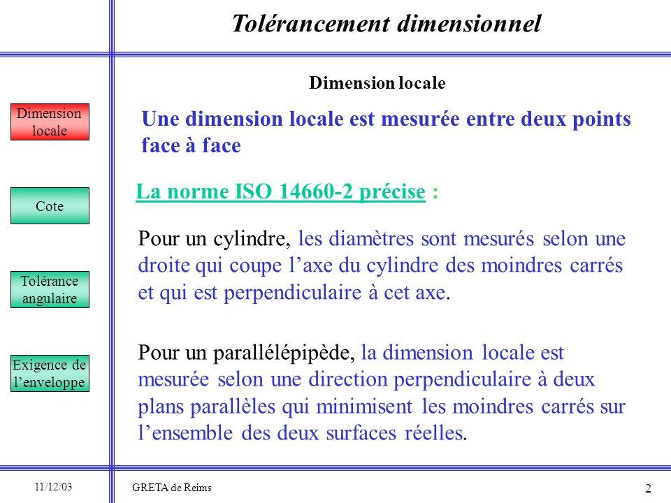 Tolérancement dimensionnel Dimension locale Cote Tolérance angulaire Exigence de lenveloppe Pour un parallélépipède, la dimension locale est mesurée s