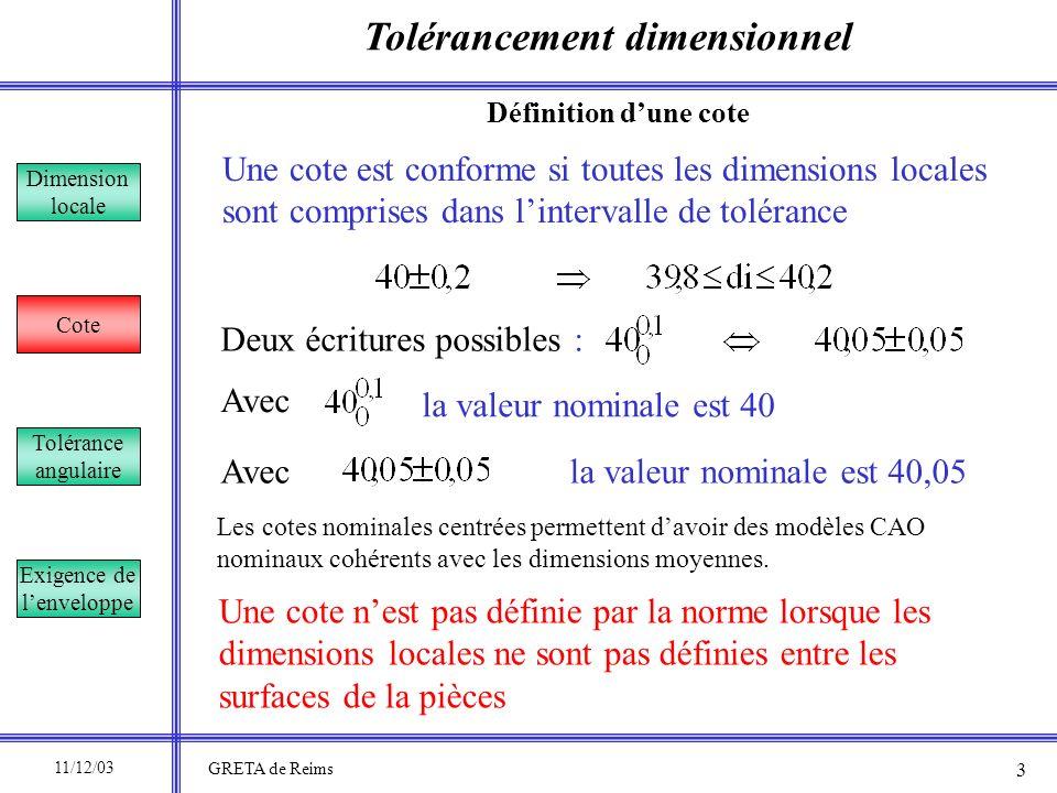 Tolérancement dimensionnel Dimension locale Cote Tolérance angulaire Exigence de lenveloppe Correct Le point nexiste pas Définition dune cote Incorrect 11/12/03 GRETA de Reims 4 40±0,2