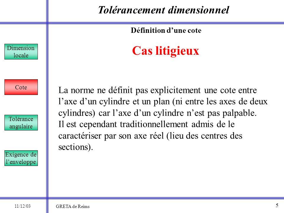 Tolérancement dimensionnel Dimension locale Cote Tolérance angulaire Exigence de lenveloppe Cas litigieux La norme ne définit pas explicitement une co