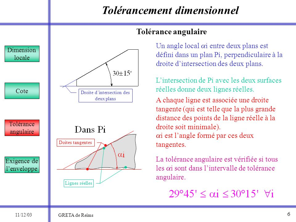 Tolérancement dimensionnel Dimension locale Cote Tolérance angulaire Exigence de lenveloppe On reconnaît une cote avec exigence de lenveloppe grâce au modificateur E entouré qui la suit : 7 Exigence de lenveloppe 11/12/03 GRETA de Reims et la pièce ne doit pas dépasser son enveloppe au maximum de matière.
