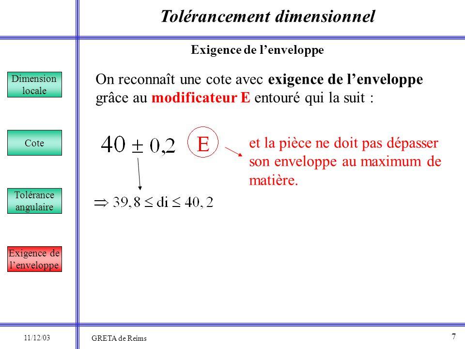 Tolérancement dimensionnel Dimension locale Cote Tolérance angulaire Exigence de lenveloppe On reconnaît une cote avec exigence de lenveloppe grâce au