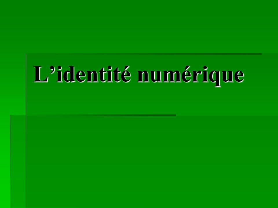 Sommaire 1) Définition de lidentité numérique.1) Définition de lidentité numérique.