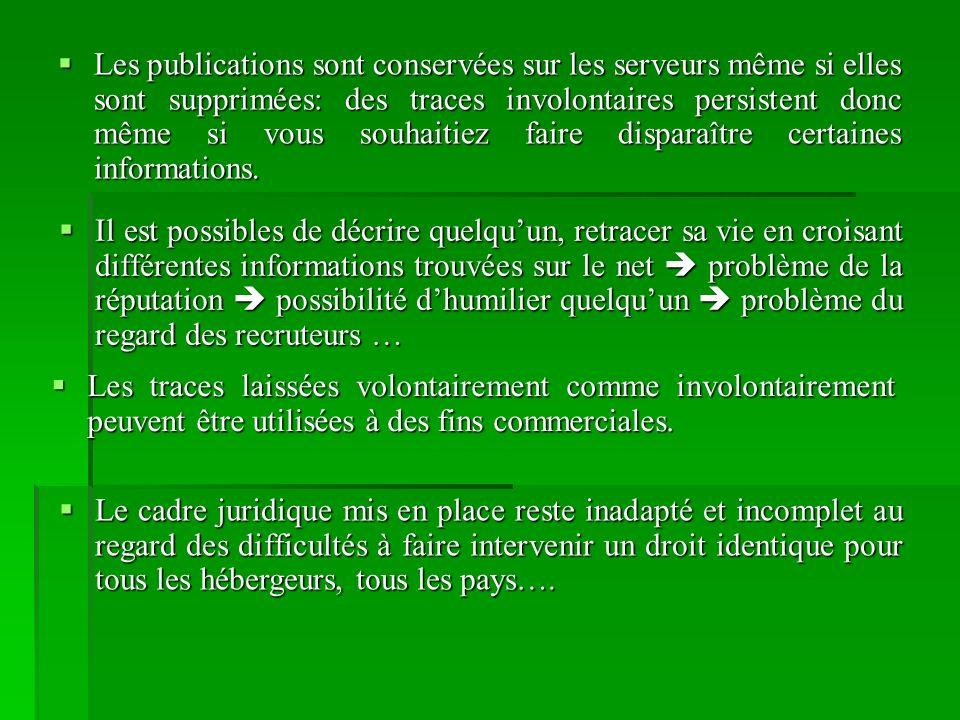 Les publications sont conservées sur les serveurs même si elles sont supprimées: des traces involontaires persistent donc même si vous souhaitiez faire disparaître certaines informations.