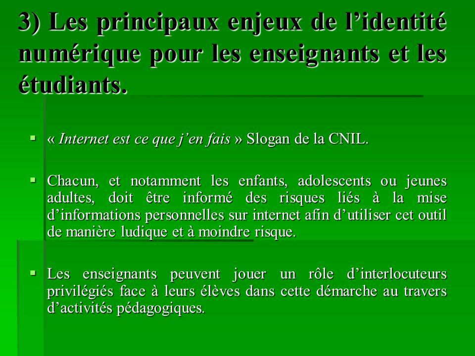 3) Les principaux enjeux de lidentité numérique pour les enseignants et les étudiants. « Internet est ce que jen fais » Slogan de la CNIL. « Internet