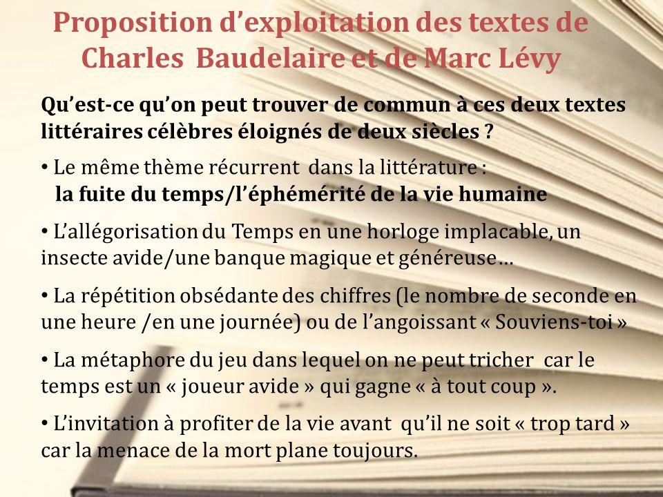 Proposition dexploitation des textes de Charles Baudelaire et de Marc Lévy Quest-ce quon peut trouver de commun à ces deux textes littéraires célèbres