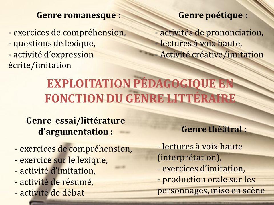 Genre romanesque : - exercices de compréhension, - questions de lexique, - activité dexpression écrite/imitation Genre poétique : - activités de prono