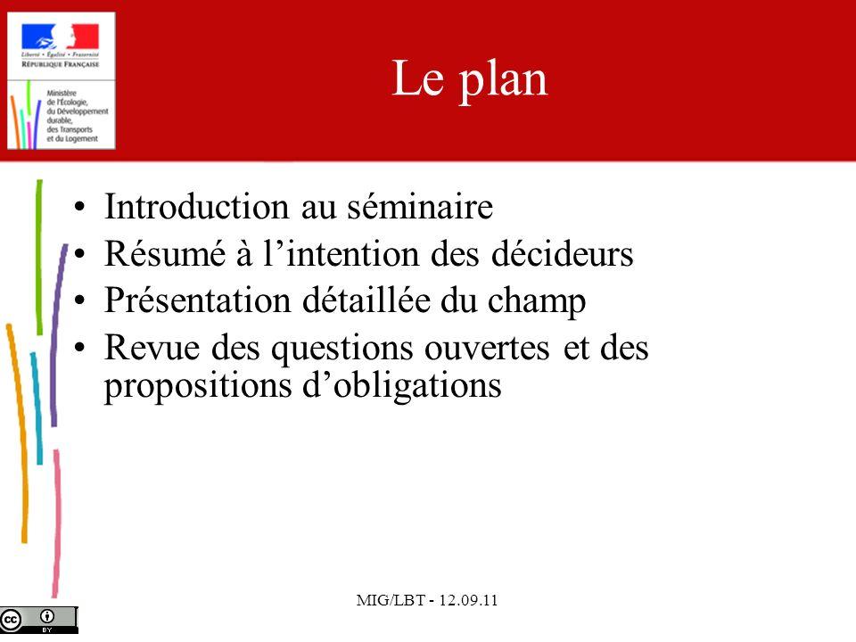 MIG/LBT - 12.09.11 Le plan Introduction au séminaire Résumé à lintention des décideurs Présentation détaillée du champ Revue des questions ouvertes et