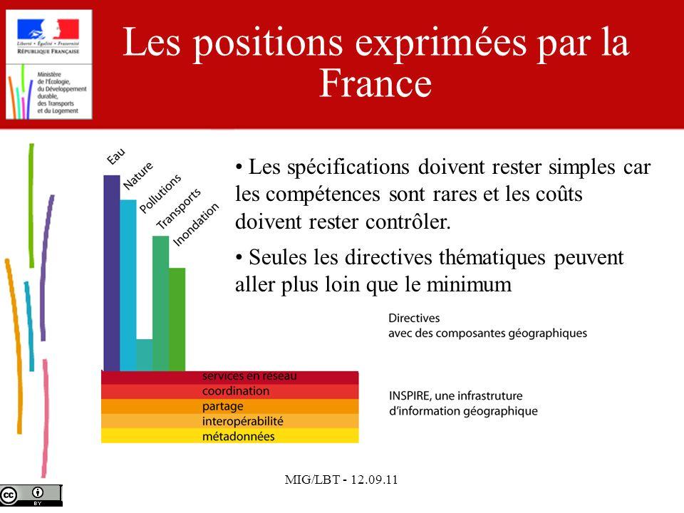MIG/LBT - 12.09.11 Les positions exprimées par la France Les spécifications doivent rester simples car les compétences sont rares et les coûts doivent