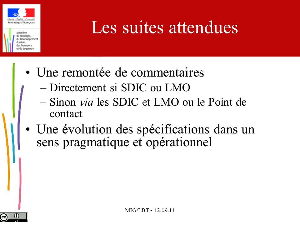 MIG/LBT - 12.09.11 Les suites attendues Une remontée de commentaires –Directement si SDIC ou LMO –Sinon via les SDIC et LMO ou le Point de contact Une
