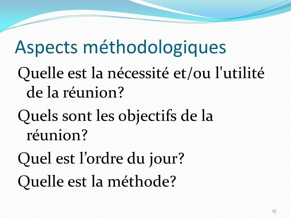 Aspects méthodologiques Quelle est la nécessité et/ou l'utilité de la réunion? Quels sont les objectifs de la réunion? Quel est lordre du jour? Quelle