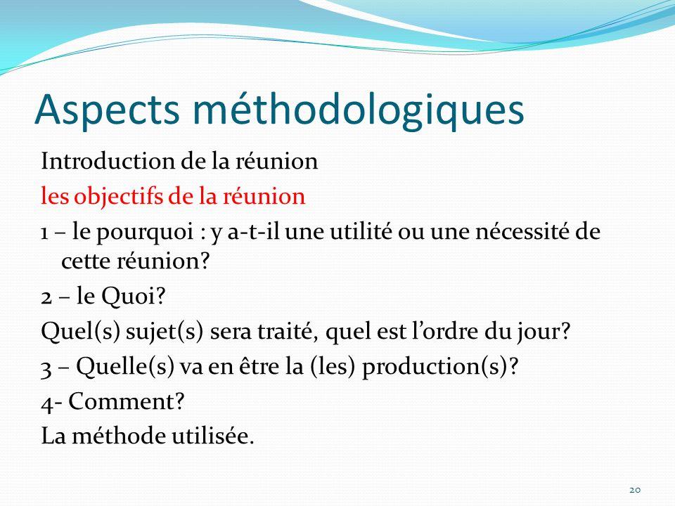 Aspects méthodologiques Introduction de la réunion les objectifs de la réunion 1 – le pourquoi : y a-t-il une utilité ou une nécessité de cette réunio