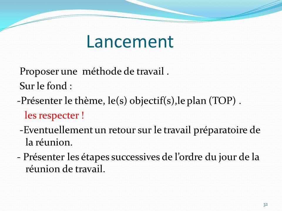 Lancement Proposer une méthode de travail. Sur le fond : -Présenter le thème, le(s) objectif(s),le plan (TOP). les respecter ! -Eventuellement un reto