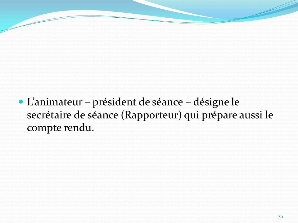 Lanimateur – président de séance – désigne le secrétaire de séance (Rapporteur) qui prépare aussi le compte rendu. 35