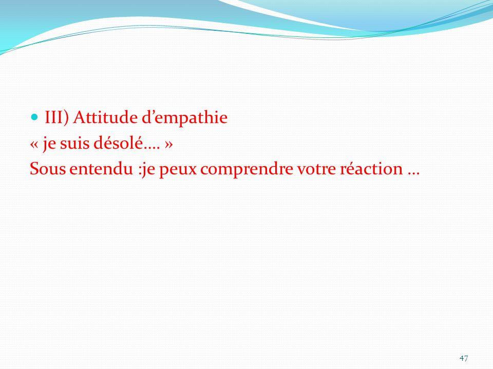 III) Attitude dempathie « je suis désolé…. » Sous entendu :je peux comprendre votre réaction … 47