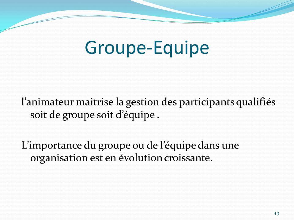 Groupe-Equipe lanimateur maitrise la gestion des participants qualifiés soit de groupe soit déquipe. Limportance du groupe ou de léquipe dans une orga