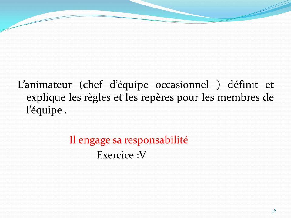 Lanimateur (chef déquipe occasionnel ) définit et explique les règles et les repères pour les membres de léquipe. Il engage sa responsabilité Exercice