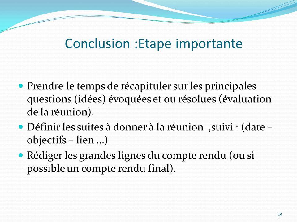 Conclusion :Etape importante Prendre le temps de récapituler sur les principales questions (idées) évoquées et ou résolues (évaluation de la réunion).