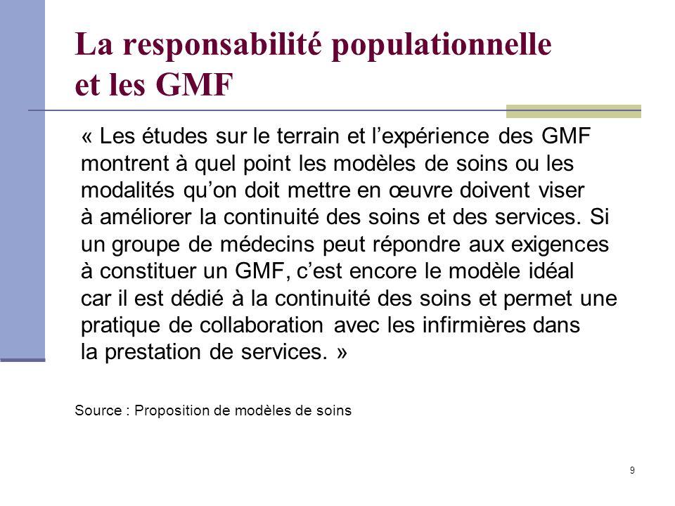9 La responsabilité populationnelle et les GMF « Les études sur le terrain et lexpérience des GMF montrent à quel point les modèles de soins ou les modalités quon doit mettre en œuvre doivent viser à améliorer la continuité des soins et des services.