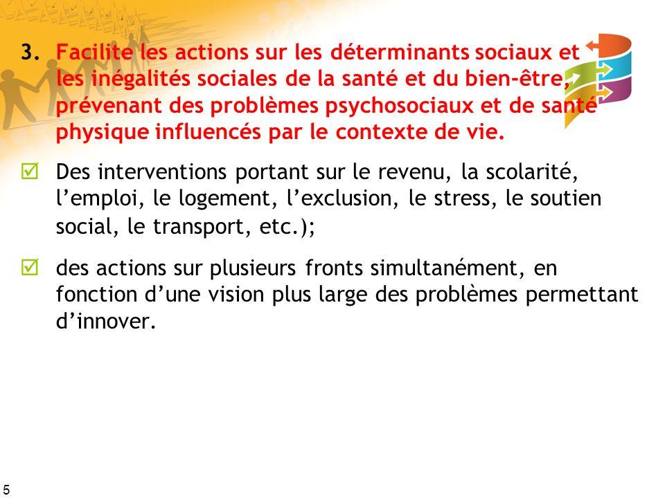 5 3.Facilite les actions sur les déterminants sociaux et les inégalités sociales de la santé et du bien-être, prévenant des problèmes psychosociaux et de santé physique influencés par le contexte de vie.
