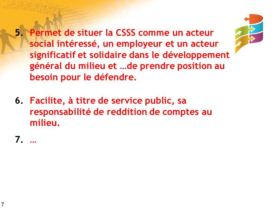 7 5.Permet de situer la CSSS comme un acteur social intéressé, un employeur et un acteur significatif et solidaire dans le développement général du milieu et …de prendre position au besoin pour le défendre.