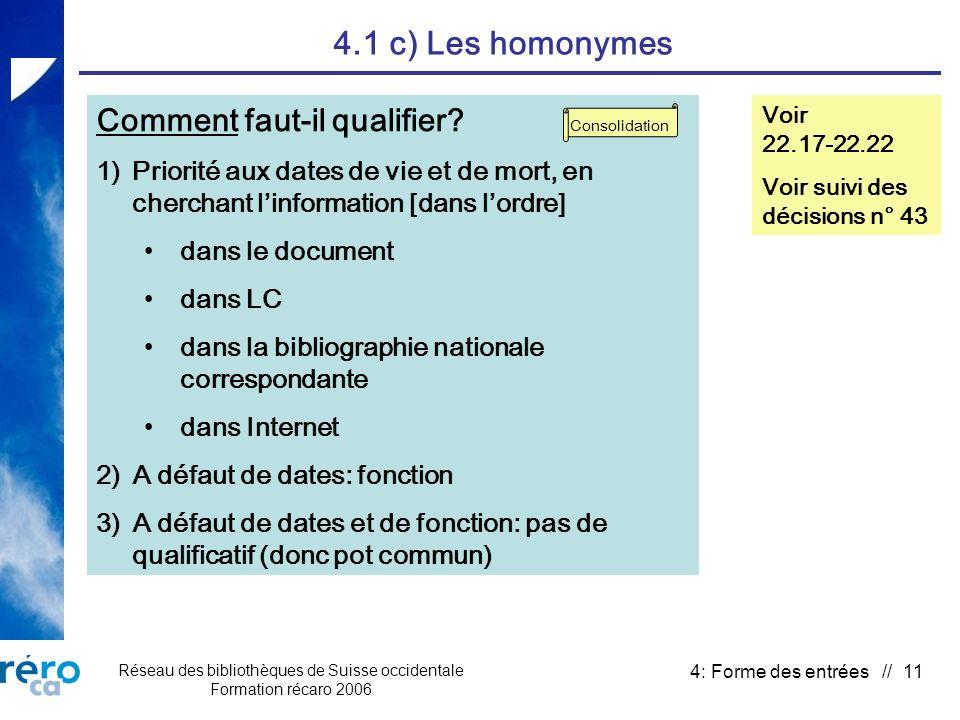 Réseau des bibliothèques de Suisse occidentale Formation récaro 2006 4: Forme des entrées // 11 4.1 c) Les homonymes Comment faut-il qualifier.
