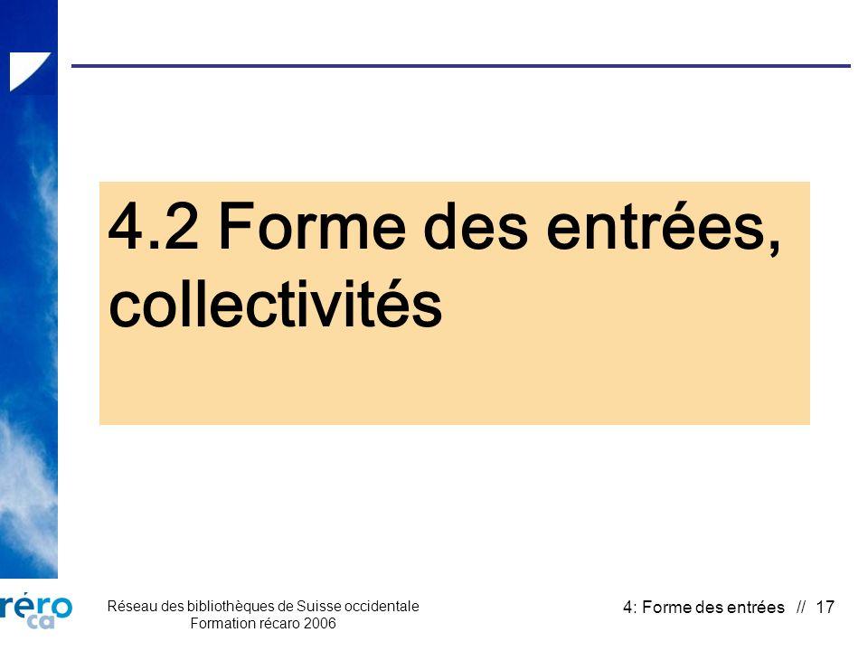 Réseau des bibliothèques de Suisse occidentale Formation récaro 2006 4: Forme des entrées // 17 4.2 Forme des entrées, collectivités