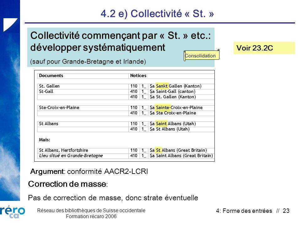 Réseau des bibliothèques de Suisse occidentale Formation récaro 2006 4: Forme des entrées // 23 4.2 e) Collectivité « St.