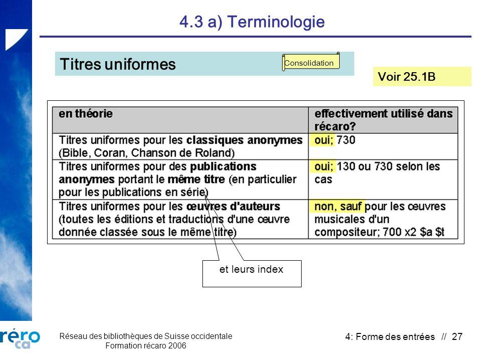 Réseau des bibliothèques de Suisse occidentale Formation récaro 2006 4: Forme des entrées // 27 4.3 a) Terminologie Titres uniformes Voir 25.1B Consolidation et leurs index