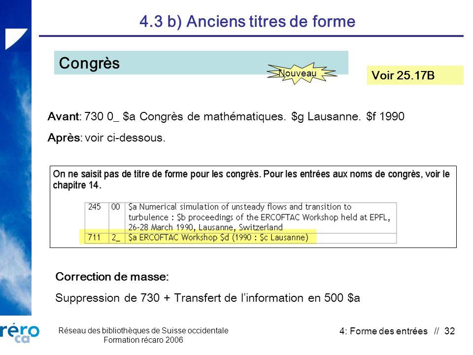 Réseau des bibliothèques de Suisse occidentale Formation récaro 2006 4: Forme des entrées // 32 4.3 b) Anciens titres de forme Congrès Voir 25.17B Avant: 730 0_ $a Congrès de mathématiques.