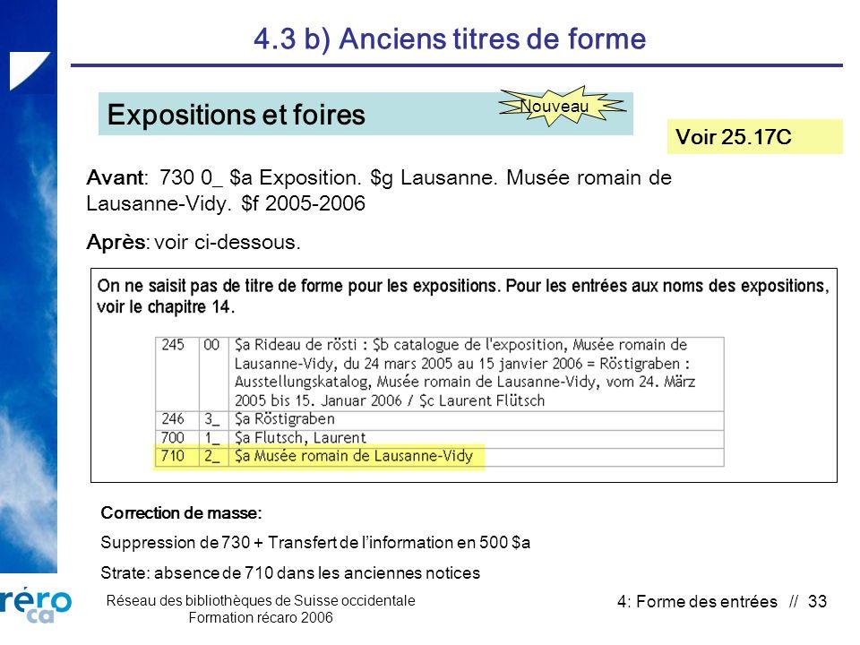 Réseau des bibliothèques de Suisse occidentale Formation récaro 2006 4: Forme des entrées // 33 4.3 b) Anciens titres de forme Expositions et foires Voir 25.17C Avant: 730 0_ $a Exposition.