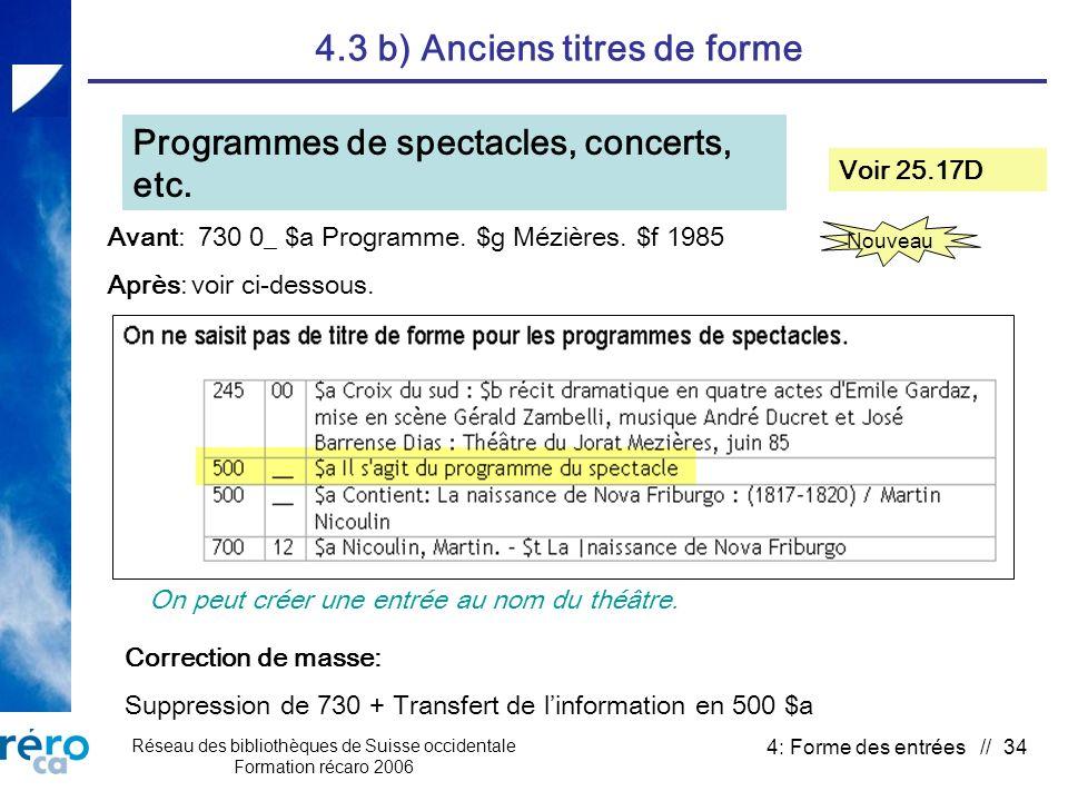Réseau des bibliothèques de Suisse occidentale Formation récaro 2006 4: Forme des entrées // 34 4.3 b) Anciens titres de forme Programmes de spectacles, concerts, etc.