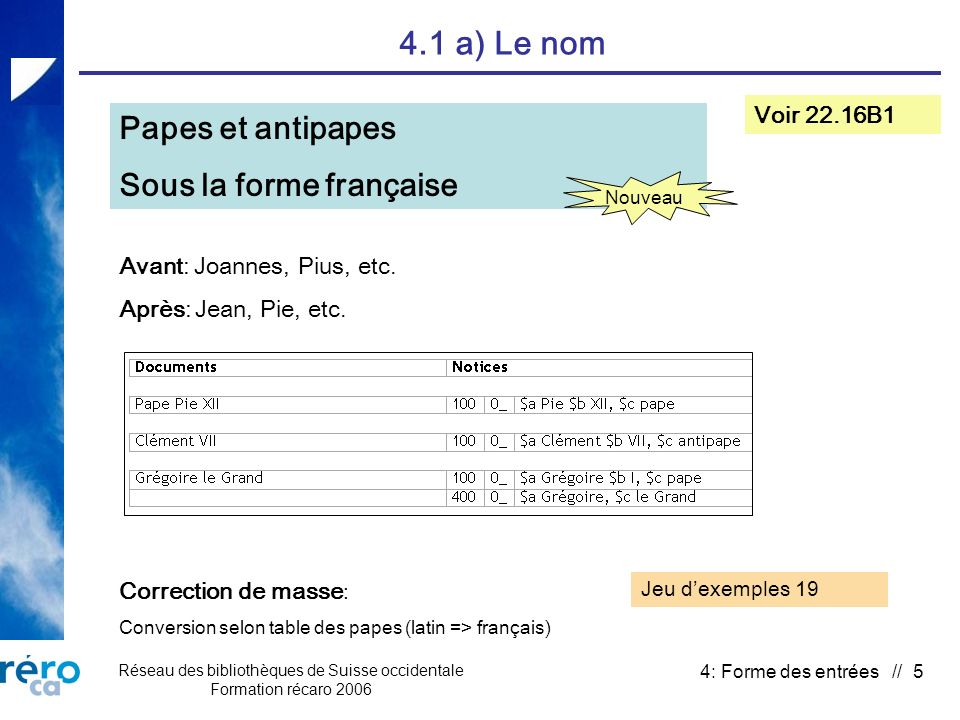 Réseau des bibliothèques de Suisse occidentale Formation récaro 2006 4: Forme des entrées // 5 4.1 a) Le nom Papes et antipapes Sous la forme française Voir 22.16B1 Nouveau Avant: Joannes, Pius, etc.