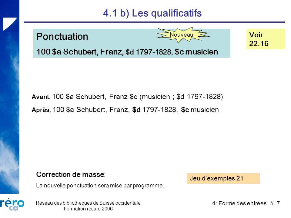 Réseau des bibliothèques de Suisse occidentale Formation récaro 2006 4: Forme des entrées // 28 4.3 a) Terminologie Titres de regroupement Voir 25.1B Consolidation