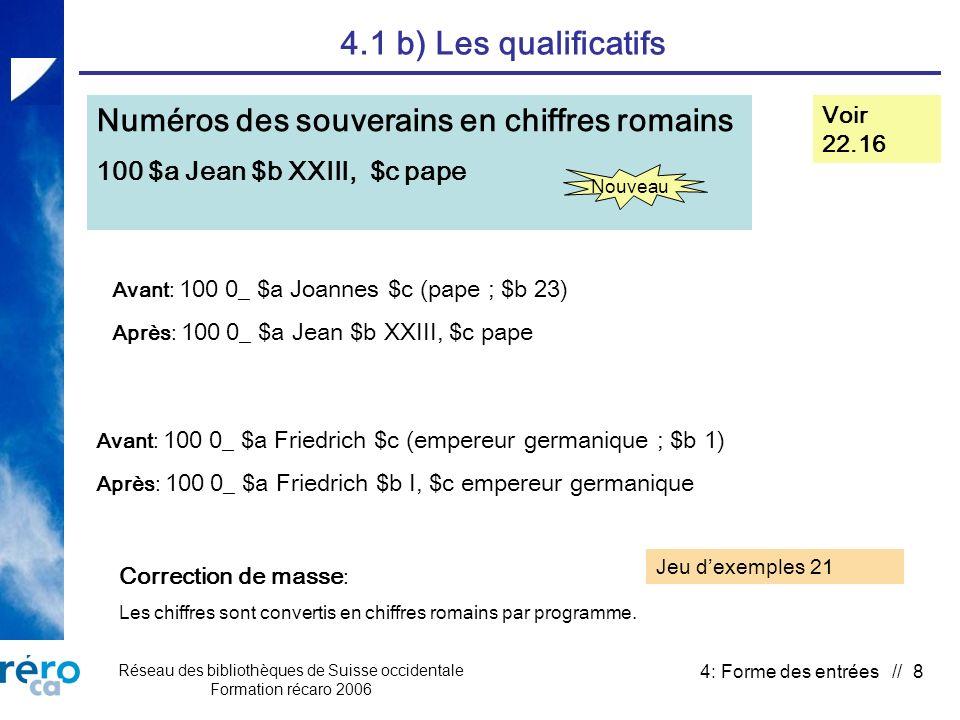Réseau des bibliothèques de Suisse occidentale Formation récaro 2006 4: Forme des entrées // 39 4.3 d) Classiques anonymes Suppression de la date dédition en $f Voir 25.2F et suivi des décisions n° 28 Correction de masse: Suppression de $f par programme.